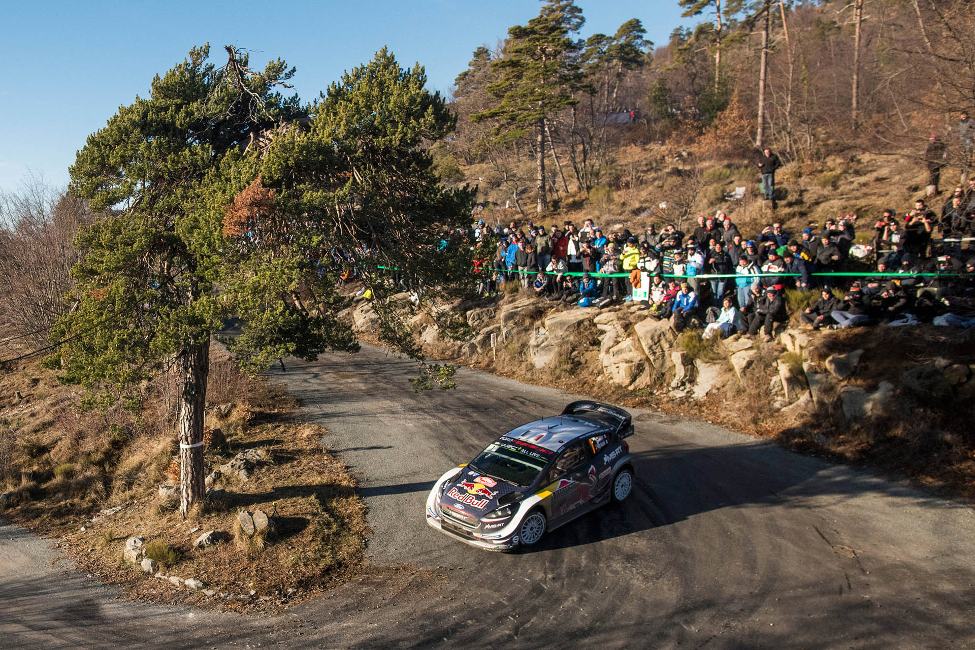 Sebastien Ogier and Julien Ingrassia in action during Rallye Monte Carlo